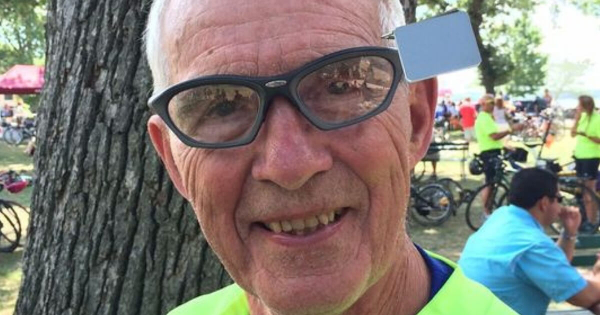 Carl Grove, a 90-year old cyclist from Bristol, Indiana