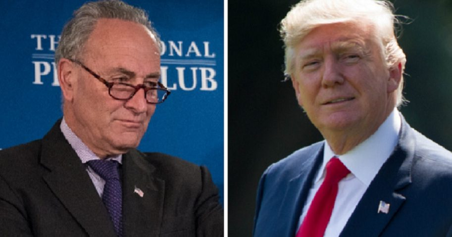 Senate Minority Leader Chuck Schumer, left; and President Donald Trump, right.