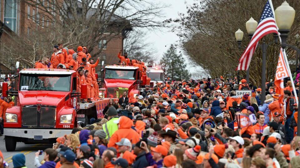 Fans cheer the national champion Clemson Tigers during their parade Saturday in Clemson, South Carolina.