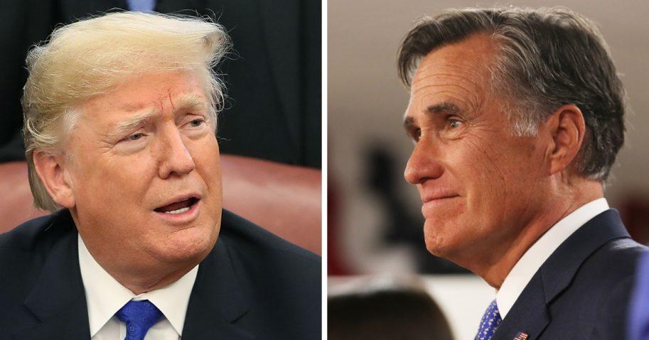 President Donald Trump, left, and Sen.-elect Mitt Romney, right.