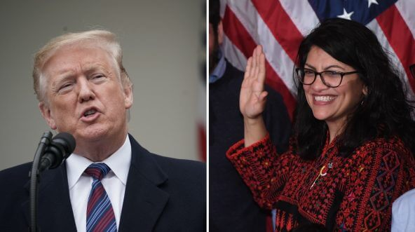 Donald Trump, left, and Rep. Rashida Tlaib, right.