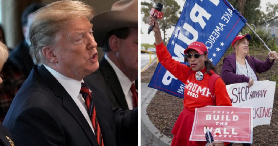 Preisdent Donald Trump, left; and pro-wall demonstrators, right.