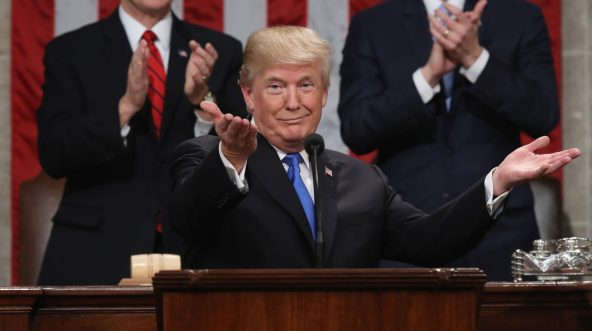 Donald Trump delivers the State of the Union address Jan. 30, 2018, in the chamber of the U.S. House of Representatives in Washington.