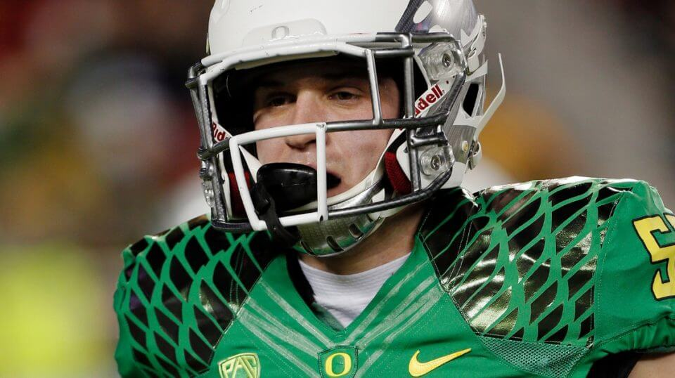 Oregon Ducks lineman Doug Brenner warms up before a Dec. 5, 2014, game against the Arizona Wildcats.
