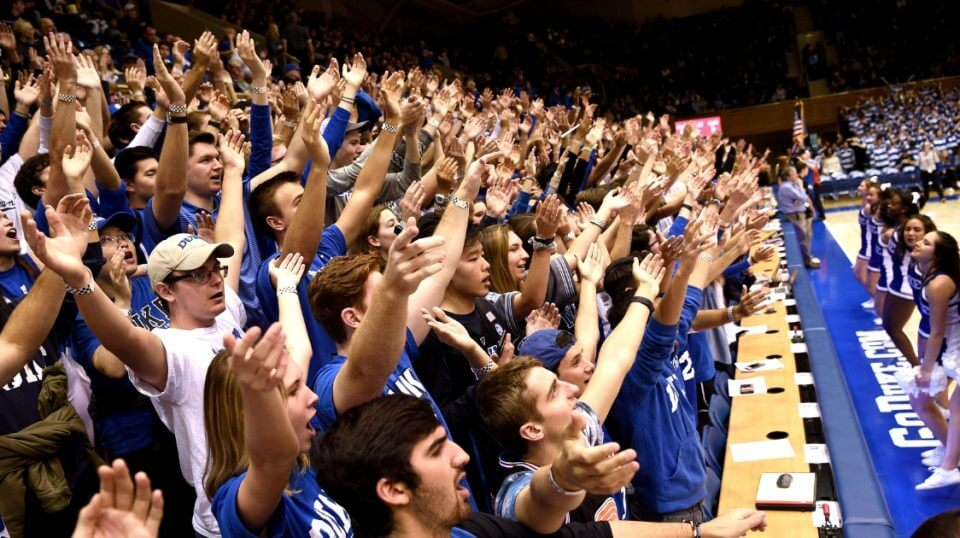The Cameron Crazies cheer for the Duke Blue Devils cheer during their Oct. 27, 2018, game against the Ferris State Bulldogs at Cameron Indoor Stadium in Durham.