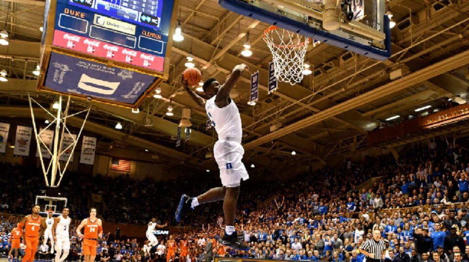 Zion Williamson #1 of the Duke Blue Devils goes up for a 360-degree dunk against the Clemson Tigers in the second half at Cameron Indoor Stadium on Saturday in Durham, North Carolina.