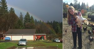 Left: Earley's family farm before the Camp Fire. Right: Earley holding a chicken on her family's property.