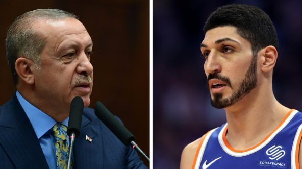 Enes Kanter of the New York Knicks, right, had strong words for Turkish leader Recep Tayyip Erdogan, left.