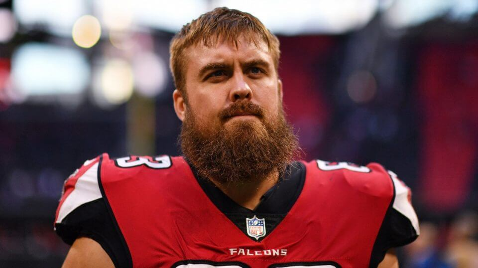 Atlanta Falcons offensive guard Ben Garland walks off the field after a Dec. 2 home loss to the Baltimore Ravens.