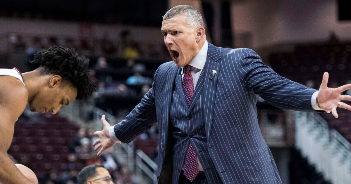 South Carolina basketball coach Frank Martin yells during the first half of the Gamecocks' game against Mississippi State on Tuesday.