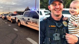 Law enforcement vehicles in procession, left; Officer Clayton Townsend with baby son, right.