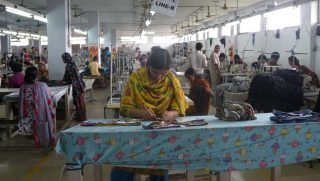Workers at a garment factory in Bangladesh.