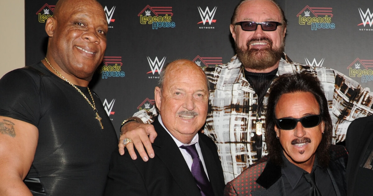 WWE stars, from left, Tony Atlas, Gene Okerlund, Hillbilly Jim and Jimmy Hart attend the WWE screening of 'Legends' House' April 15, 2014, in New York City.