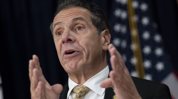New York Governor Andrew Cuomo speaks during a press conference