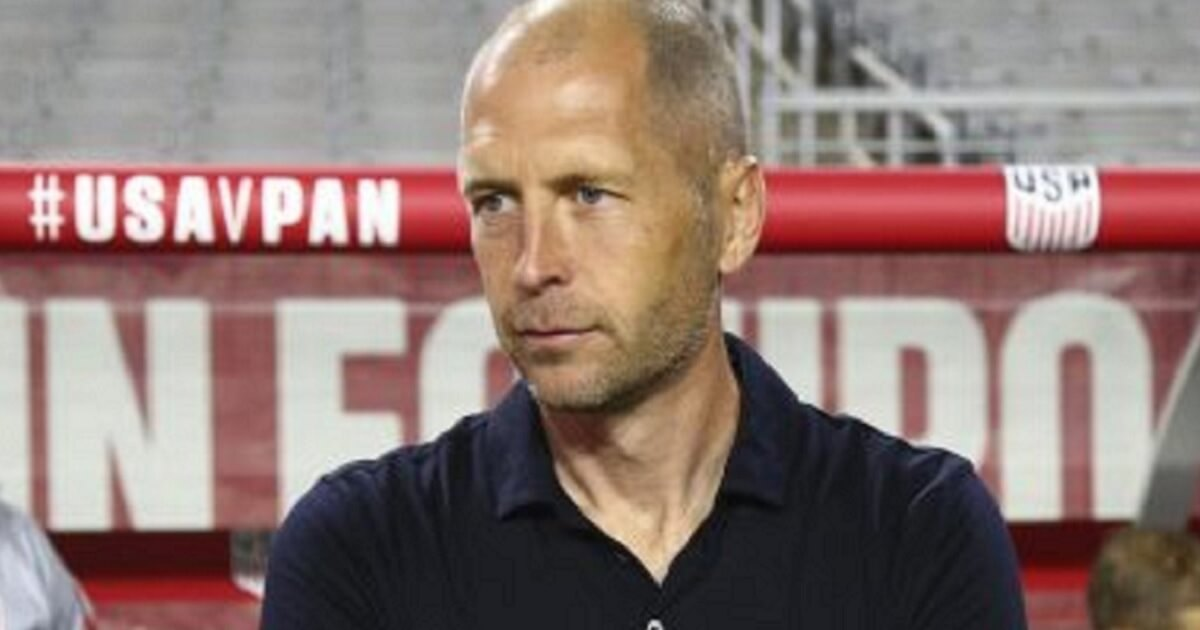 Greg Berhalter on the field before the game.
