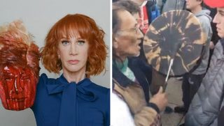 "Kathy Griffin with fake severed head, left; '""racist"" interaction, right."