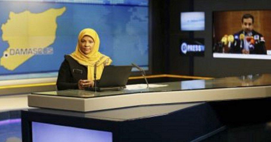 Marzieh Hashemi, an American-born news anchor for Iran's Press TV, is pictured in a file photo at a studio in Tehran.