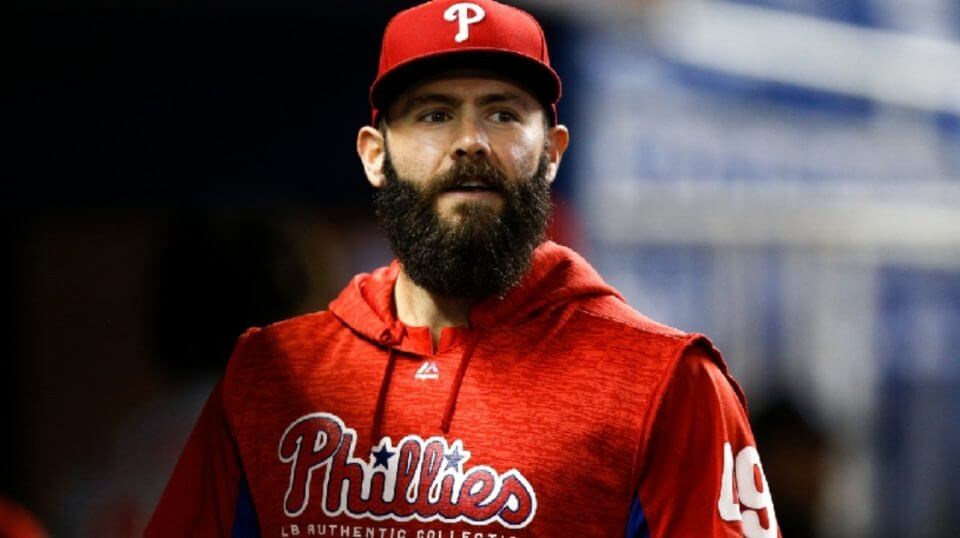 Jake Arrieta of the Philadelphia Phillies looks on in the dugout against the Miami Marlins at Marlins Park on Sept. 3, 2018 in Miami, Florida.