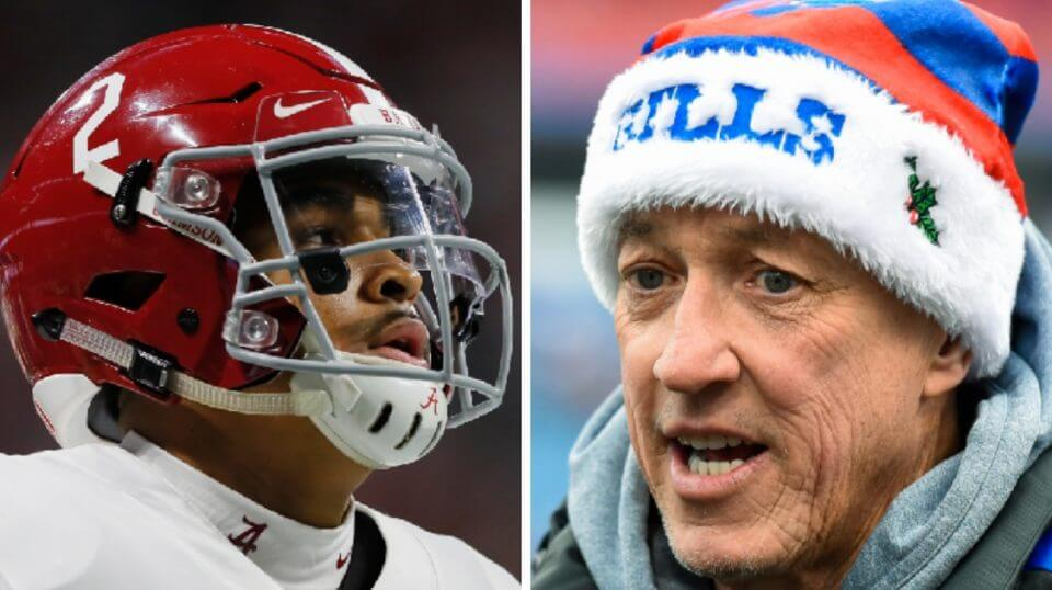 Former Alabama quarterback Jalen Hurts, left, and former Bills signal-caller Jim Kelly right, were both honored by the National Quarterback Club earlier this month. Kelly said he was inspired when Hurts cited John 13:7 during his acceptance speech.