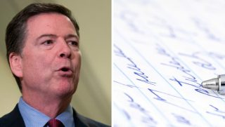 Former FBI Director James Comey alongside handwritten notes.