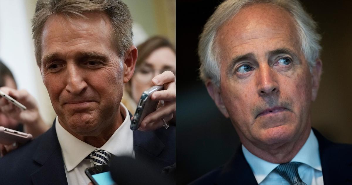 Sen. Jeff Flake, left, and Sen. Bob Corker, right.