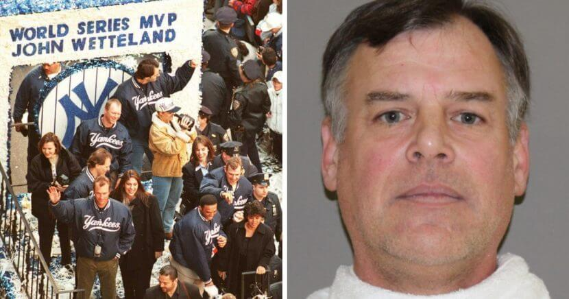 Left: John Wetteland in 1996 riding a float in the New York ticker tape parade celebrating the Yankees' championship. Right: His jailhouse mugshot.