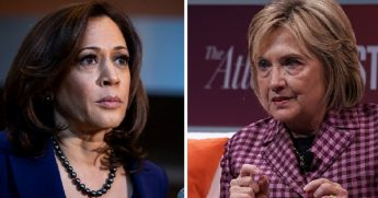 Sen. Kamala Harris, left; and Hillary Clinton, right.