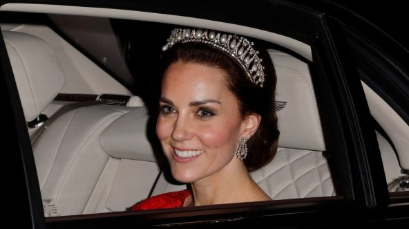 Catherine, Duchess of Cambridge, departs after attending the annual Diplomatic Reception at Buckingham Palace on Dec. 8, 2016, in London, England.