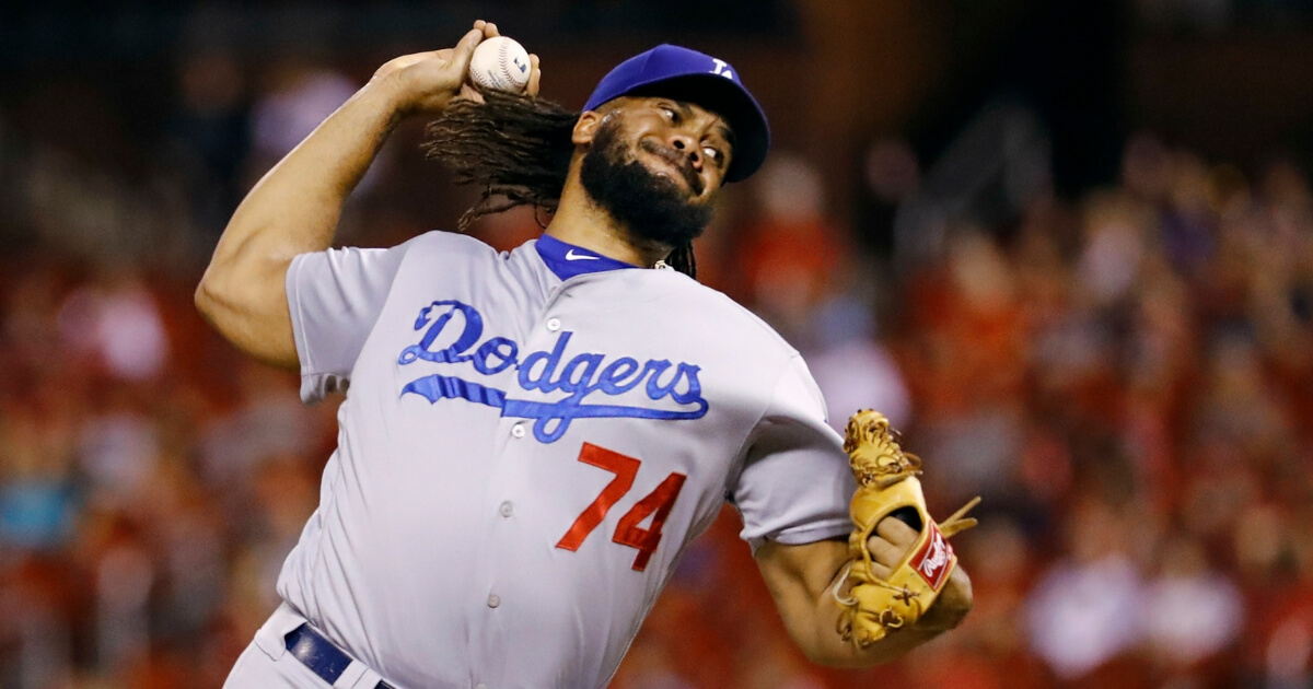 Los Angeles Dodgers relief pitcher Kenley Jansen throws during the ninth inning of a Sept. 14, 2018 game against the St. Louis Cardinals.