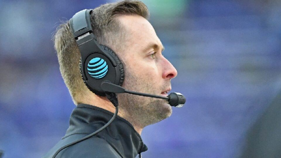 Then-head coach Kliff Kingsbury of the Texas Tech Red Raiders looks on from the sideline during the second half against the Kansas State Wildcats at Bill Snyder Family Football Stadium on Nov. 17, 2018 in Manhattan, Kansas. Kingsbury was hired to be USC's offensive coordinator in December.