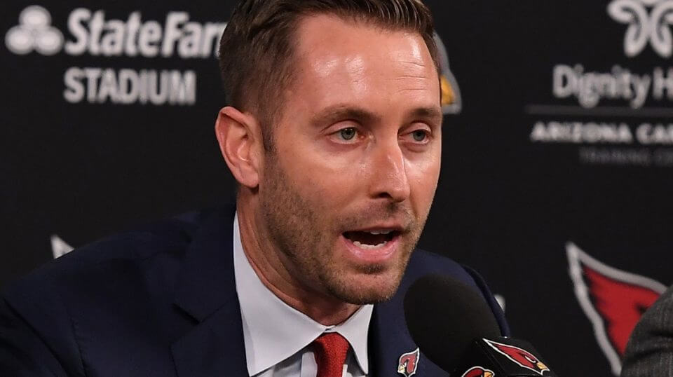 New Arizona Cardinals coach Kliff Kingsbury talks to the media Wednesday at the team's training facility in Tempe.