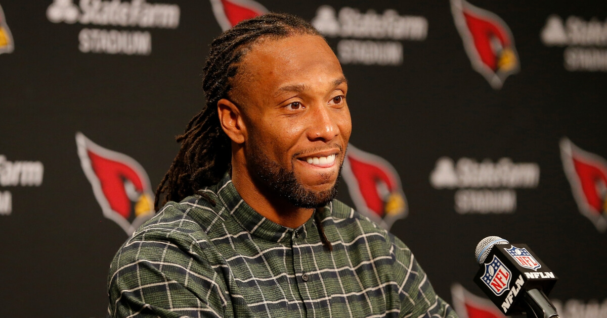 Arizona Cardinals wide receiver Larry Fitzgerald holds a news conference after his last home game of the 2018 season, a loss to the Los Angeles Rams on Dec. 23.