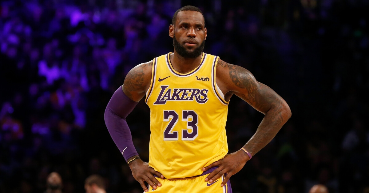 LeBron James of the Los Angeles Lakers looks on during a game against the Brooklyn Nets at Barclays Center on Dec. 18, 2018.