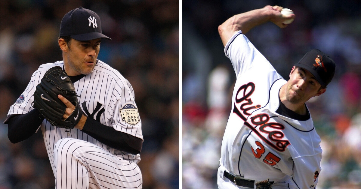Hall of Famer Mike Mussina pitched for the New York Yankees, left, and Baltimore Orioles.