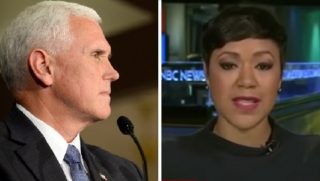Vice President Mike Pence, left; MSNBC guest Tiffany Cross, right.