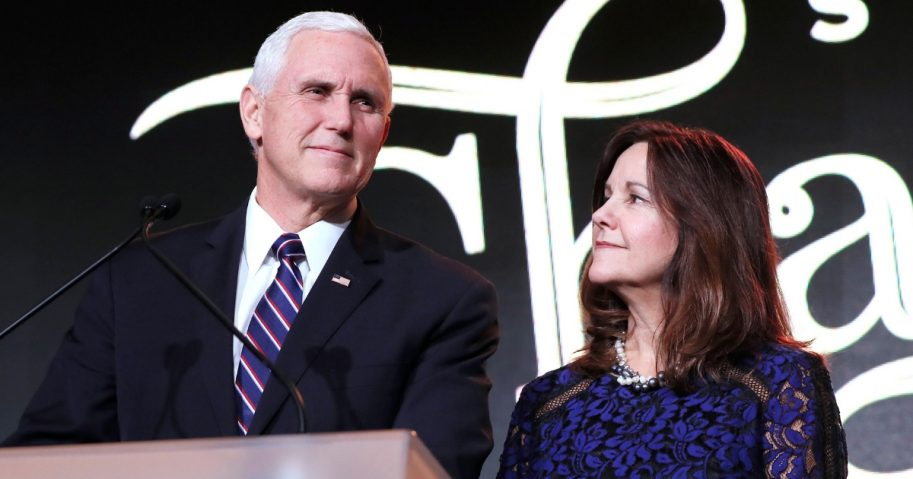 U.S. Vice President Mike Pence and Karen Pence speak at the Save the Storks 2nd Annual Stork Charity Ball at the Trump International Hotel on Jan. 17, 2019, in Washington, D.C.