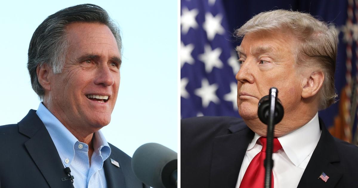Sen.-elect Mitt Romney, left, and President Donald Trump, right.