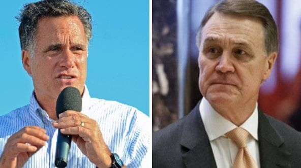Sen. Mitt Romney, left; and Sen. David Perdue, right.