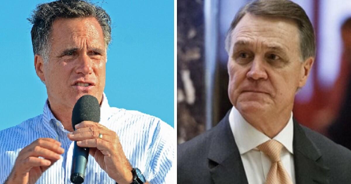 Sen. Mitt Romney, left; and Sen. David Perdue, right.