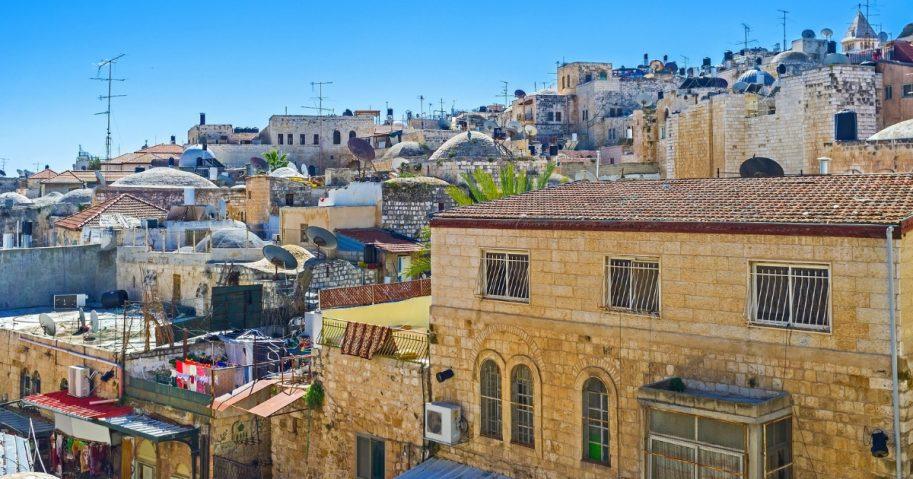 The dense buildings of the Muslim Quarter of Jerusalem, Israel.