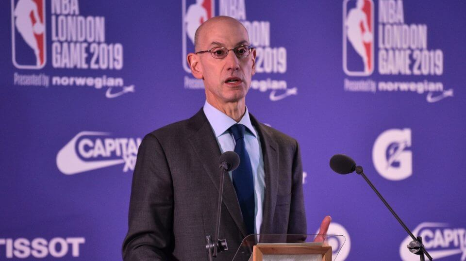 NBA Commissioner Adam Silver talks to reporters Thursday ahead of the game between Washington Wizards and New York Knicks at the O2 Arena in London.