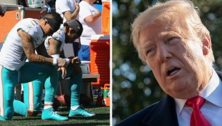 Left, Kenny Stills #10 and Albert Wilson #15 of the Miami Dolphins kneel during the national anthem prior to their game against the New England Patriots at Gillette Stadium on Sept. 30, 2018. President Donald Trump, right, has called out NFL players who disrespect the anthem.