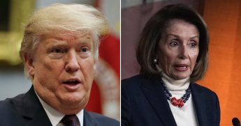 Donald Trump, left, Nancy Pelosi, right