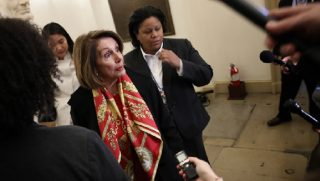 House Speaker Nancy Pelosi addresses the media Wednesday in Washington.