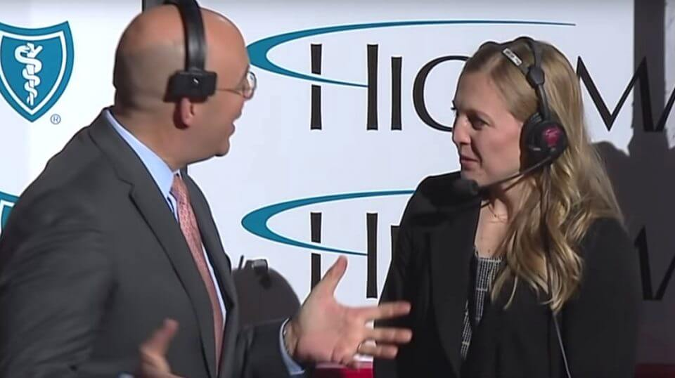 """NBCSN hockey analyst Pierre McGuire was criticized as """"sexist"""" for how he talked to Olympic gold medalist Kendall Coyne Schofield during her debut as an NHL analyst."""