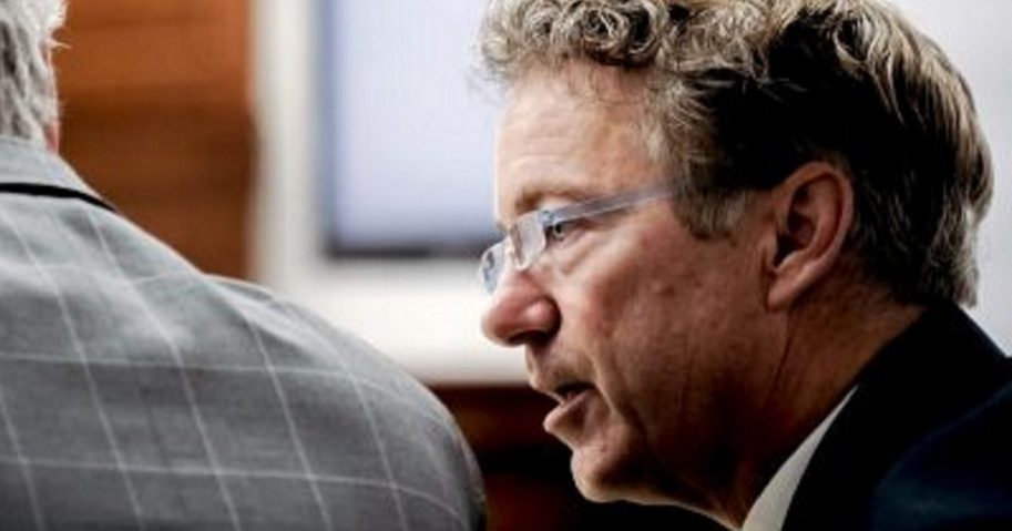 U.S. Sen. Rand Paul talks with his attorney Tom Kerrick on Tuesday during the second day of a civil trial involving Paul and his neighbor Rene Boucher in Warren Circuit Court in Bowling Green, Kentucky.
