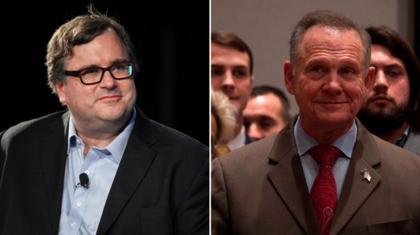 Reid Hoffman, left, and Roy Moore, right.