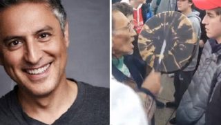 Rezal Aslan, left; and shot of Washington standoff, right.