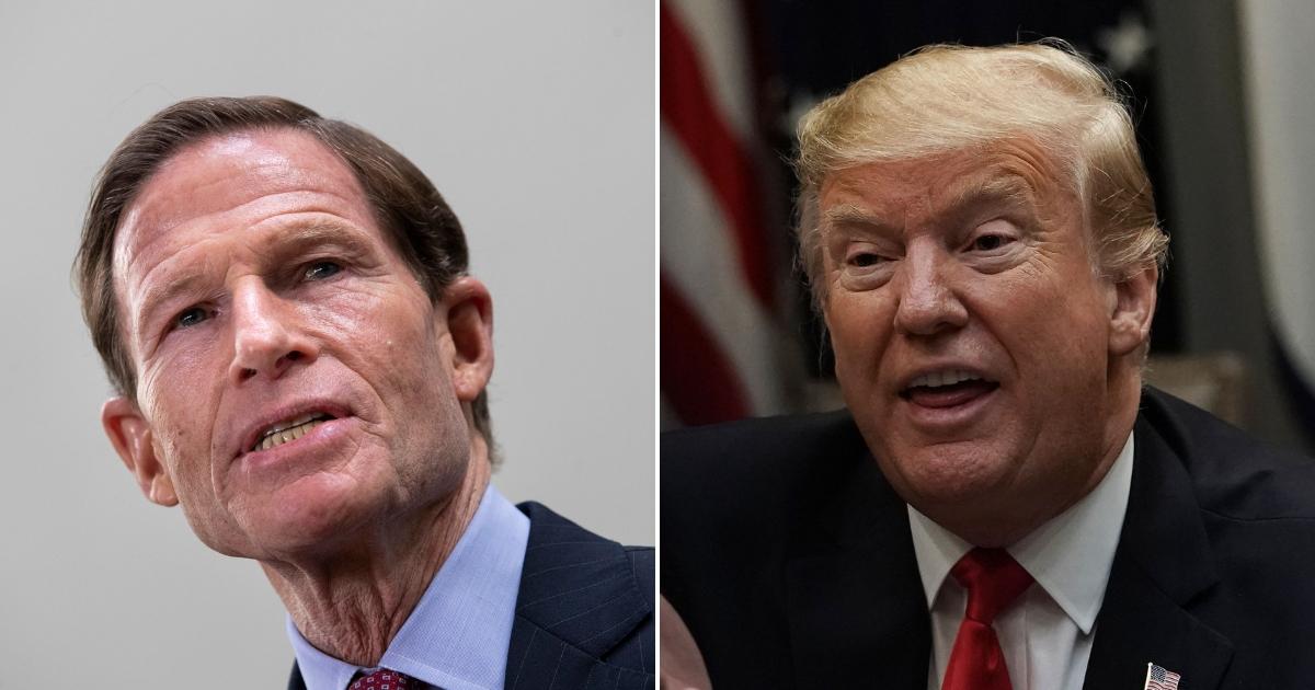 Richard Blumenthal, left, Donald Trump, right.