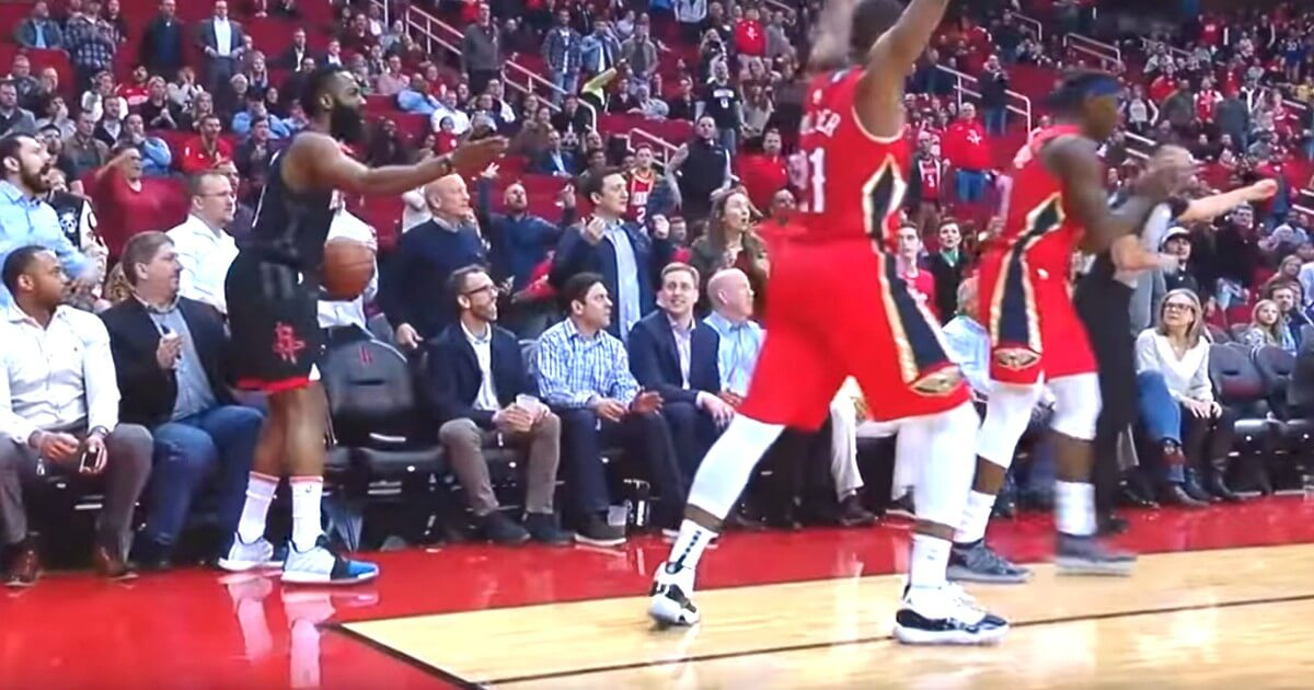 The Houston Rockets' James Harden complains after no foul was called late in Tuesday night's game against the New Orleans Pelicans.